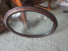 ANTIQUE VINTAGE WOOD OVAL  FRAME CONVEX BUBBLE GLASS - Glass is 19.5