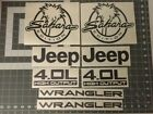 Jeep Wrangler Side Hood Decal Kit Sahara Replace Matte Black Sticker TJ LJ JK R