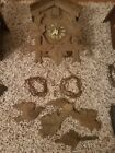 Cuckoo Clock West Germany Carved Wood Birds & Leaves Vintage