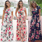 Women Sexy Long Floral Maxi Dress Boho Summer Beach Dress Cocktail Party Dress