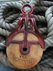 Antique Cast Iron AND WOOD BARN TOOL HAY TROLLEY ORNATE PULLEY RUSTIC DECOR