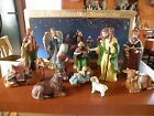 Vintage Porcelain Nativity 12 Piece set W Highlighted 11 K gold