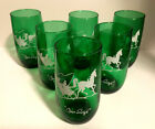 MCM 1960's CHRISTMAS OPEN SLEIGH GREEN ANCHOR HOCKING GLASSES SET OF 6 MINT! 2