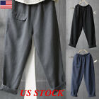 Women Cotton Linen Harem Pants Baggy Loose Trousers Casual Waistband Pocket Plus
