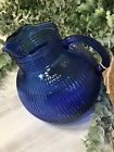 """VINTAGE"" HAZEL COBALT BLUE FINE RIBBED PITCHER"