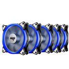 Pack of 5 Aigo 120mm 12cm Halo Ring Neon BLUE LED Computer PC Case Cooling Fan