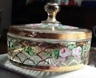 Vintage glass candy dish with lid, handpainted flower design, gold paint