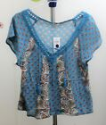 HOLLISTER L SHORT SLEEVE MULTI-COLOR FLORAL BOHO PAISLEY COTTON BLEND BLOUSE TOP