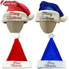 Red Blue Adult Unisex Santa Claus Hat Chrismas Decorations Xmas Holiday Gift 2pc