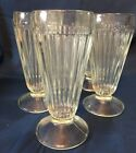 Set of 5 Vintage Clear Ribbed Footed Ice Cream Soda Milk Shake Fountain Glasses
