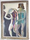 VINTAGE ABSTRACT HUGO STORELLI OIL PAINTING MID CENTURY MODERN Signed LISTED 60s