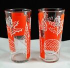 Set of 2 Libbey Fall Leaves Orange Large Glass Tumblers