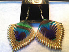 PEACOCK FEATHER GOLD BEADED EARRINGS 80s VINTAGE