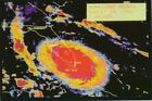 1992 HURRICANE ANDREW Map Photo Postcard Miami Florida NOAA Satellite Image