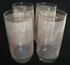 Glasses Tumblers Vintage Retro Anchor Hocking White And Pink Stripe  Set Of 4
