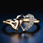 Love Wedding Double Heart Silver  Gold Filled Women Lady Crystal Sapphire Rings