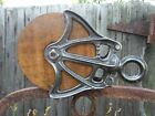 Antique VINTAGE Cast Iron AND WOOD ORNATE  PULLEY FARM BARN TOOL RUSTIC DECOR