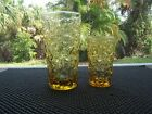 Set of 2 Anchor Hocking Lido Milano Gold Amber Crinkle Glass TALL