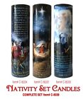 NATIVITY SCENE WISEMEN SHEPARD AND ANGELS LED CANDLES SET OF 3 6 Hour Timer