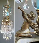 Vintage Chandelier CANOPY Lamp Cherub trumpeting crystal prism brass Glass beads