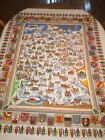 Vintage German Souvenir Map Crests Tablecloth NEW NEVER USED 52 x 64