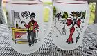 VINTAGE SET OF 2 GAY FAD 12 oz MUGS /BARWARE FROSTED GLASS SET
