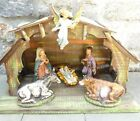Vintage Italian Nativity 7 Piece Set Fontanini or Similar High Quality w Stable