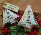 Two Handcrafted Primitive Quilted Christmas Trees