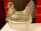 Vintage Clear Glass Chicken Hen on Nest Dish Bowl Large  8''x8''x61/4'