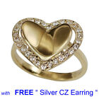 YELLOW GOLD PLATED Bent HEART Shape with CZ Wedding with Free Silver Earring