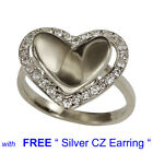 WHITE GOLD PLATED Bent HEART Shape with CZ Wedding with Free Silver Earring