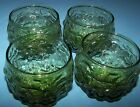 4 Avocado Green Anchor Hocking Crinkle Lido Milano Mid Century Modern Glasses