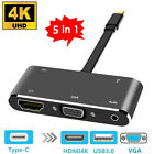 5 in 1 Type-C to HDMI 4K Apapter VGA Cable Audio PD Converter HUB for Macbok Pro