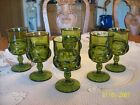 King Crown Vintage 6 Avocado Green Thumbprint Stemmed Footed Glass Goblet's
