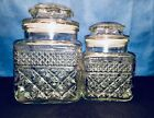 Vintage Set of 2 Anchor Hocking Wexford Lidded Glass Canisters