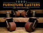 ANTIQUE TABLE CASTERS, Victorian Furniture Cast Iron Wood Swivel Wheel Set V