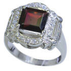 Natural Garnet Silver Ring For Gift Prong Style Emerald Cut  ewelry Size 4-12