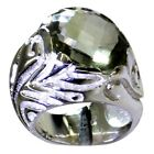 Real Green Amethyst SIiver Statement Wedding Rings For Women Size 5,6,7,8,9,10