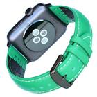 Green Leather Band for Apple Watch 42mm iwatch 1 2 3 Sports Strap Black Adapter