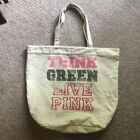 """VICTORIA SCRET """"PINK"""" CANVAS TOTE  THINK GREEN LIVE PINK LARGE BAG"""
