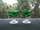 2 Anchor Hocking 'FOREST GREEN' Bubble Foot Sherbets/Champagne Glasses