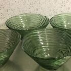 Vintage Green Glass Bowls Set 4 Avocado Swirl Design Salad Snack Made USA MCM