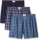 Tommy Hilfiger Mens Underwear 3 Pack Cotton Classics Woven Boxers, Red Plaid