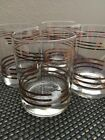 Double Old Fashion Cocktail Glasses With Gold Trim Bands (4)