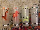 4 Vintage Libbey Carousel Circus Animals Tom Collins Frosted Bar Glass Tumblers