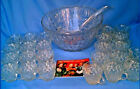 ANCHOR HOCKING 50-Pc Arlington Punch Bowl Set w/ 24 Cups 24 Hooks Ladle Booklet!