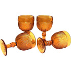4 Amber Indiana Glass Co. Sandwich Daisy Tiara Wine Glasses Goblets Vintage
