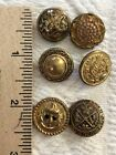 A Lot Of 6 Six Antique Vintage Brass Buttons Different Patterns Large - Medium