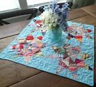 Pretty Color! Vintage Scrappy Blue Star Table Crib Quilt 27x26