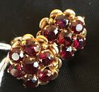 18ct Yellow Gold Cluster Style Earrings w/ Brilliant Cut Garnets Valued at $3300